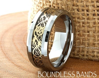 Celtic Dragon Wedding Band Flat High Polished Customized Tungsten Band Any Design Laser Engraved Ring Mens Tungsten Anniversary Gold His 8mm