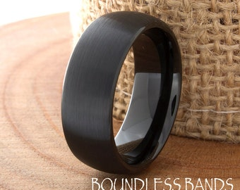 Wedding Band Tungsten Ring Customized Any Design Laser Engraved Ring Mens Tungsten Ring Black Dome New Modern Classic Mens Band 8mm Brushed