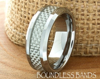 Grey Carbon Fiber Inlay Tungsten Wedding Ring 8mm Mens Wedding Band Beveled Edges High Polished Custom Laser Engraving Personalized Ring New