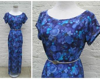 Vintage 60s Hawaiian dress, hawaiian maxi dress, blue hawaiian dress, evelyn margolis dress, flowy maxi dress, vintage caftan dress