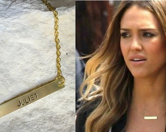 Gold Bar Necklace, Kardashian Necklace, Personalized Name Plate Necklace, Gold Name Bar Necklace, Jessica Alba Necklace, BAR Necklace