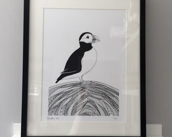 Stanley the Puffin , Art Print, Signed Ltd Edition, illustration, hand drawn.