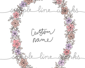 Custom Name Wreath - Line Drawing, Black and White or Color