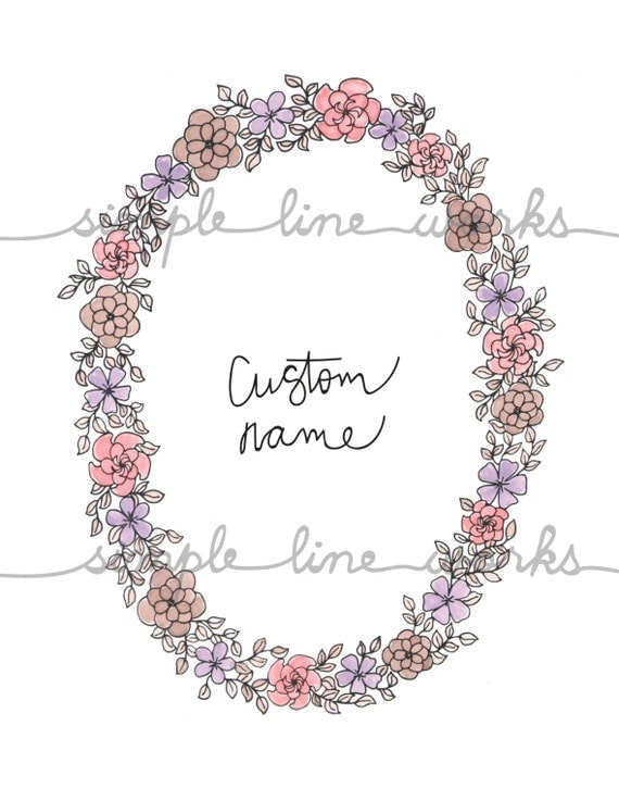 Line Drawing Etsy : Custom name wreath line drawing black and white or color