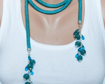 Turquoise-Beaded crochet rope-Long lariat necklace-Wrap necklace-Addition