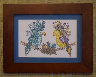 "5 x 7 Wood Framed Tangle Art, Blue Matting - ""Oscar Doodle Family"""
