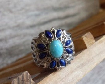 SS, Larimar, Lapis Flower Design Ring - Size 5