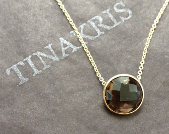 14k solid yellow gold and smoky quartz pendant slider