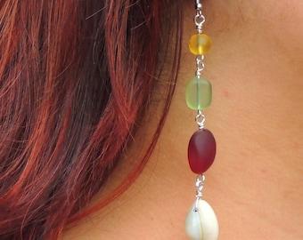 Rasta, Red, Yellow & Green Sea Shell Dangle Earrings