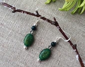Green Australian Jasper Earrings, Dangle earring, Silver Earrings, Swarovski Crystal Earrings, Sterling Silver,Boho Earrings, Oval Earrings