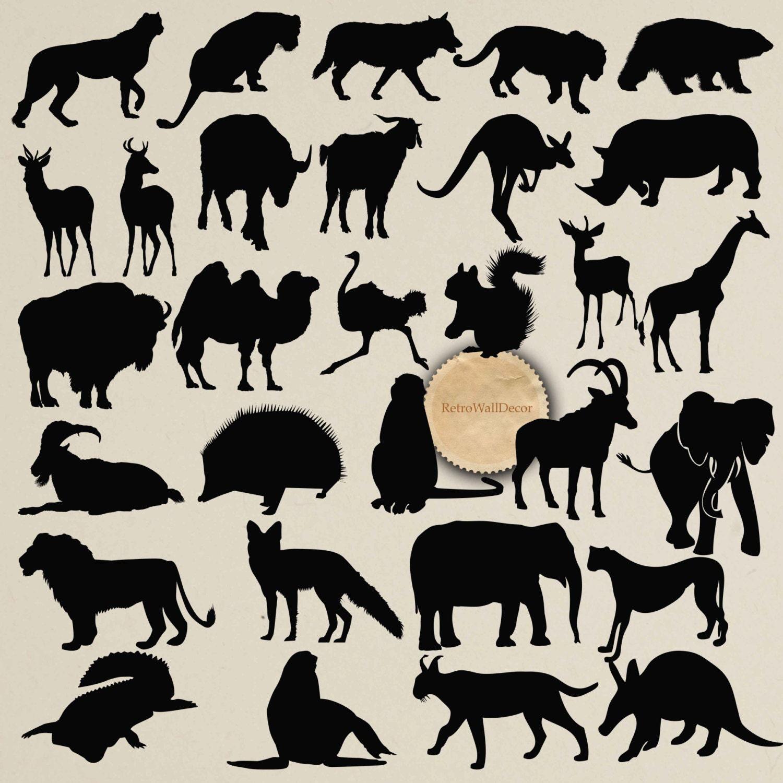 Wild Animals Silhouettes Safari Animals by RetroWallDecor ...