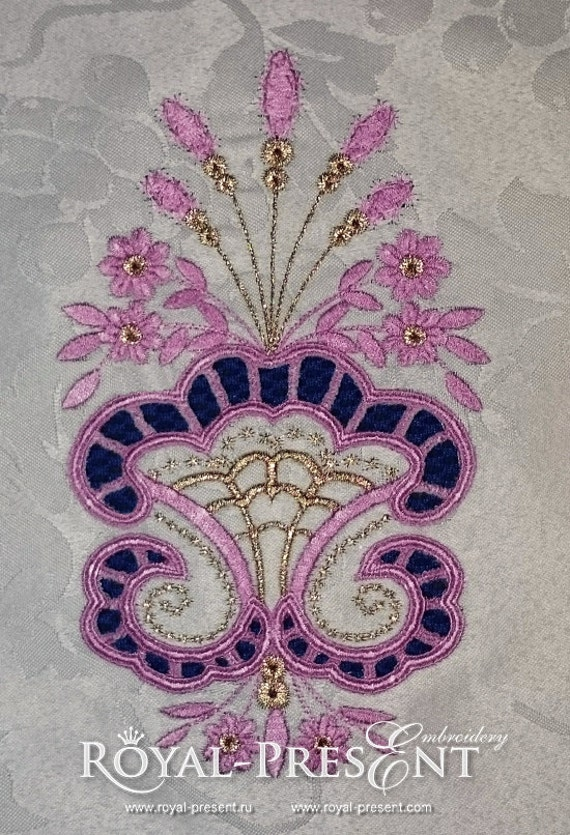 Machine embroidery design cutwork lace flower vase from for Glass cut work designs