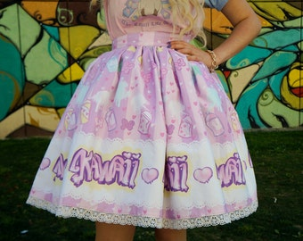 Sweet Graffiti lolita skirt (with pockets) - sweet lolita kawaii graffity pastel fairy kei decora mahou kei heart spray can bow stripes pink