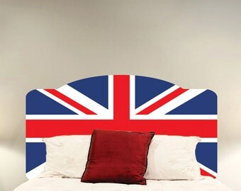 British Flag Wall Decal Headboard, Flag of England Wall Headboard, British Flag Wall Decal, British Flag Headboard, Flag of England Art, c52