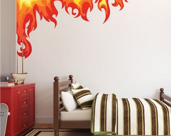 Flame Wall Decals, Fire Wall Decals, Kids' Room Flame Designs, Kids' Room Wall Graphics, Flame Wall Art Stickers, Flame Wall Desgns, n26