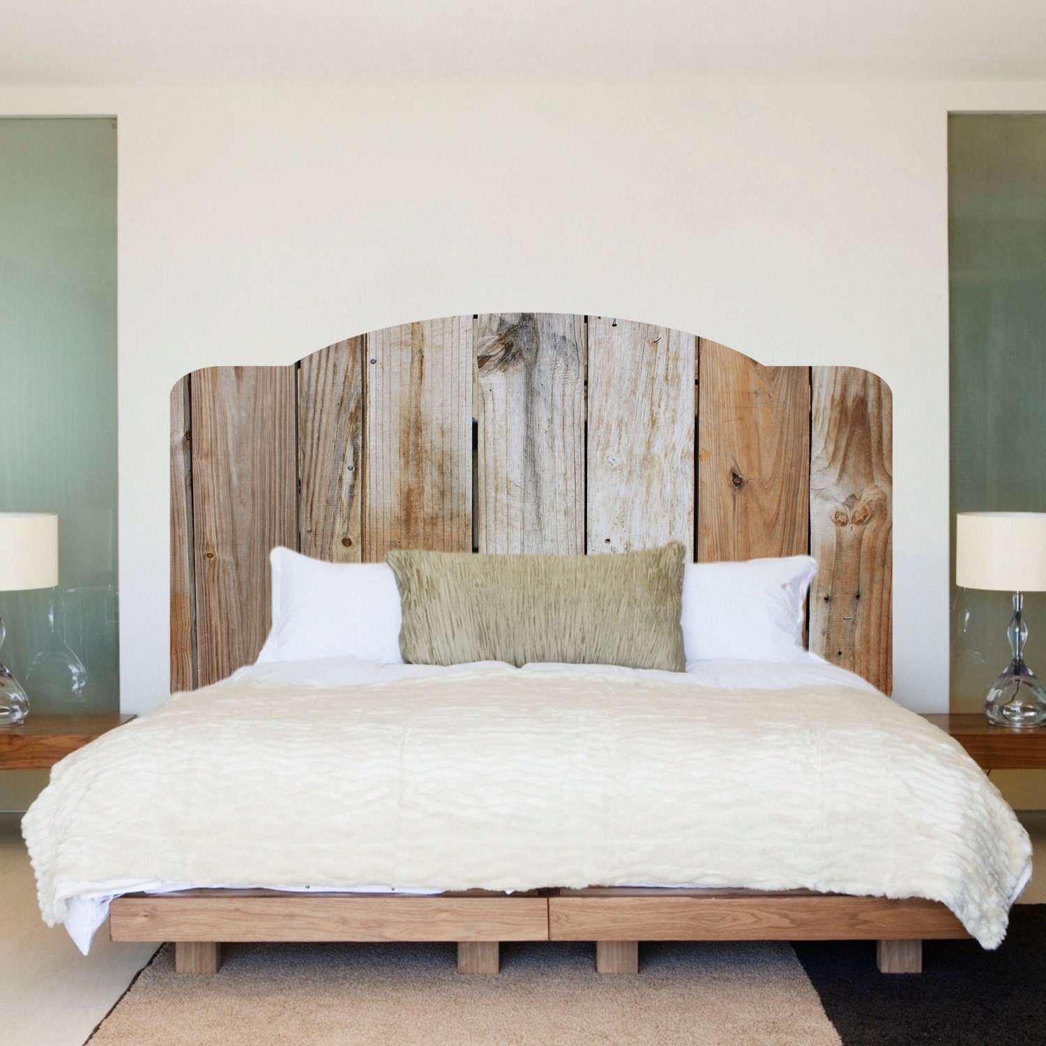 rustic wood headboard wall decal rustic headboard wall mural wooden headboard bedroom wall sticker - Design Wall Decal