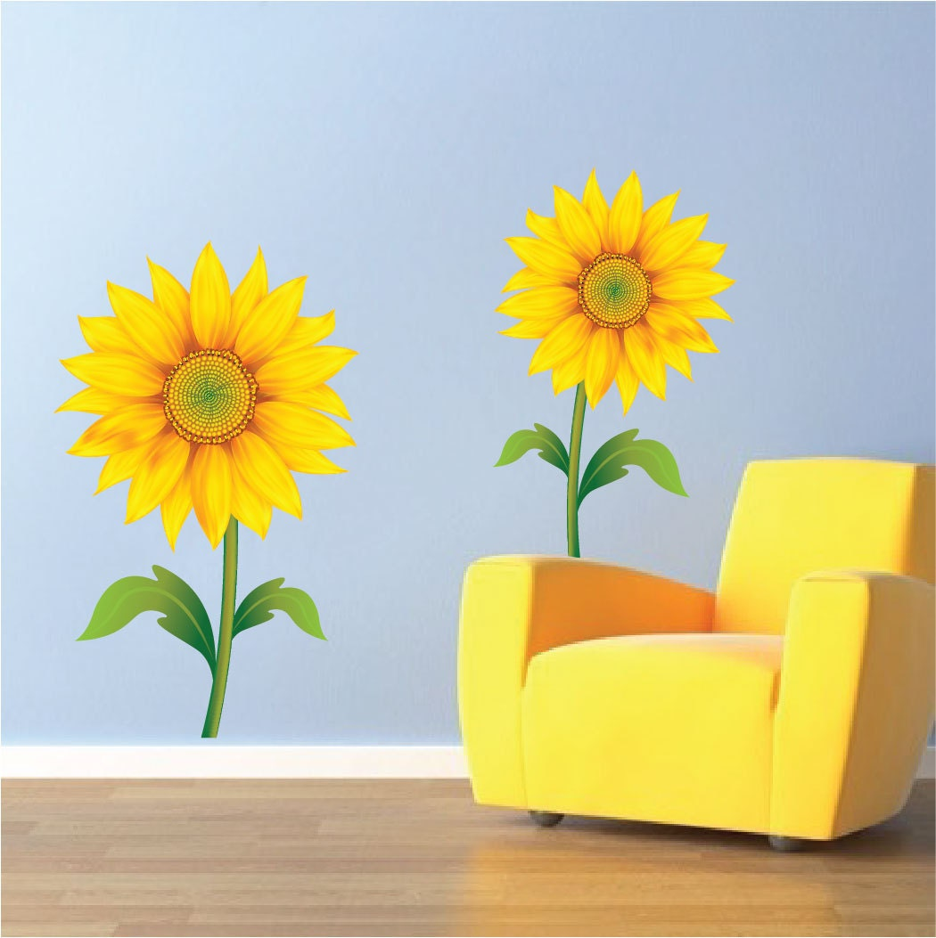 Sunflower Wall Mural Decals, Sunflower Wall Art Sticker, Sunflower Wall Art Design, Sunflower