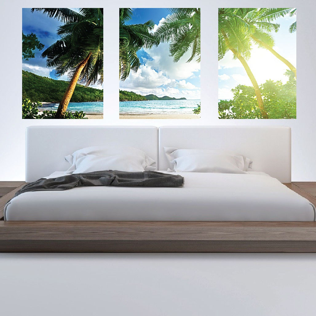 Palm tree wall mural decal palm tree wall art decals by for Beach wall mural sticker