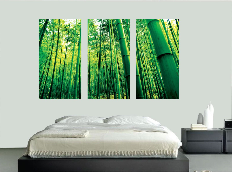 Bamboo wall mural decal bamboo wall stickers bamboo wall art for Bamboo wall mural
