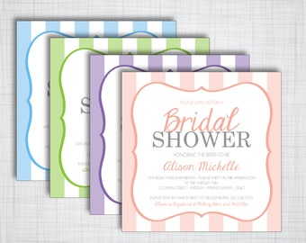 Striped DIY Bridal Shower Invitation- Customizable Printable