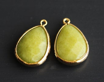 A2-500-G-AP] Apple Green / 14 x 20mm / Gold plated / Teardrop Pendant /  2 pieces