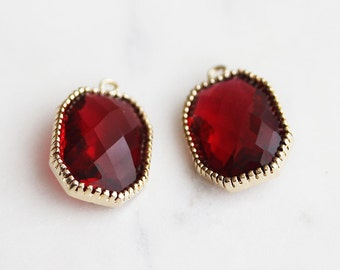 A2-011-G-RU] Ruby Red / Octagon / 14 x 20mm / Gold plated / Glass Pendant /  2 pieces