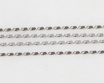B5-105-R] Rhodium plated / 1.1mm / Flat Dot Cable Chain / 1 meter