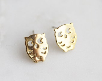 N3-289-G] Owl / 8 x 11mm / Gold Plated / Post Earring / 2 piece(s)