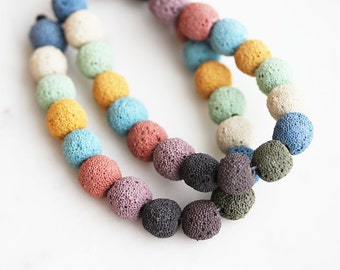 40% Off ENTIRE STORE // A2-669-10] Multi Color Volcanic / 10mm / Round Ball Bead  / 1/2 strand