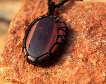 SPRING SALE 25% OFF Big Red Tiger Eye Macrame Gemstone Necklace