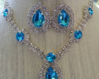 Fabulous Aqua Blue and Clear  Rhinestone  Statement  Necklace  and  Earring  Set...Wedding  /  Evening  /  Prom