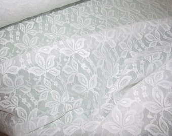 "Top Quality 54"" Wide White Laminated  Floral Patterned Lace"
