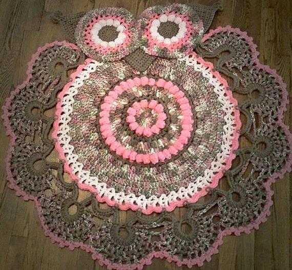 Handmade Crocheted Owl Rug Animal Rug-girls By KreativeJourney