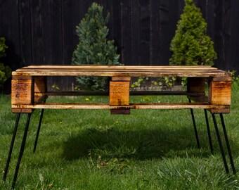 Recycled Pallet Wood Coffee Table, Industrial, Handmade item