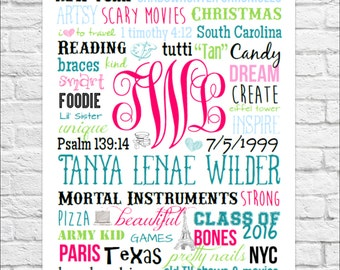 All About Me Personalized Print for Teens