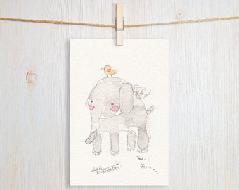 Elephant Art Postcard