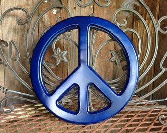 Blue Wooden Peace Sign