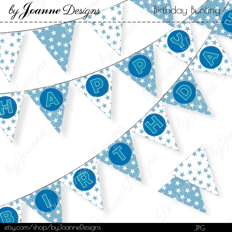 Happy Birthday Banner DIY Printable Blue White Stars Bunting