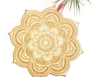 Floral Mandala Wood Sign - Spiritual Wall Art, Wood Mandala, Sacred Geometry Mandala, Geometric Shaped, Bohemian Wall Art, Mandala Wall Art