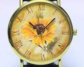 Sunflower Handmade Watch, Floral Watch, Spring Flowers, Vintage Style Leather Watch, Boyfriend Watch, Unisex Watch, Handmade Watch Jewelry