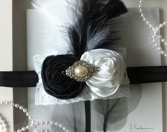 Black and white headband