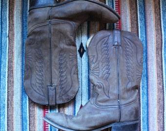 Vintage Men's Durango Brown Roughout Leather Cowboy Boots 11 D