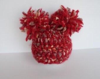 Newborn PomPom Crochet Hat - red