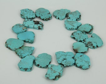 Approx 25pcs strand Light Blue Turquoise Slice Beads,Top Drilled Magnesite Jewelry Bulk,Freeform Flat Slab Large Nugget Gemstone Necklace