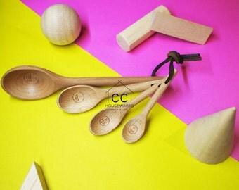 Set of 4 wood measuring spoons, Baking amount beech wood spoon spoon baking tools beech spoon Kitchen utensils cooking