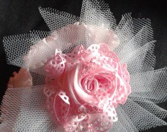 pink rose baby headband, rose baby headband, pink baby headband, infant rose headband, baby headband, baby flower headband, newborn headband
