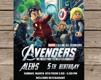 Avengers Lego Star Wars Invitation, Lego Star Wars Invite, Lego Star Wars Printable Customized Card Invitations Party P133