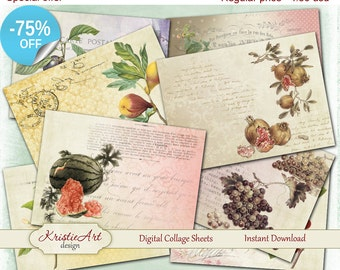 75% OFF SALE Digital Collage Sheet Fruits & Berries Printable Download, Digital cards C069, Atc card Aceo size printable download vintage