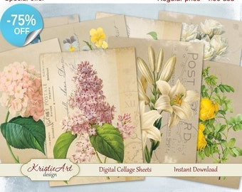 75% OFF SALE Beautiful Flowers ATC cards - Digital collage sheet, Printable Download, Digital Tags C060, Digital collage, Digital Image, Tag