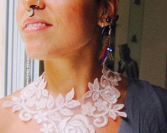 Pink lace necklace, bridal lace necklace, romantic necklace, floral lace necklace,soft pink necklace,lace collar necklace,lace jewelry,lace